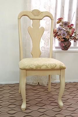 猫脚のクラシック調ダイニングチェア/座面高48cm/上品な花柄の座面ブリリアン