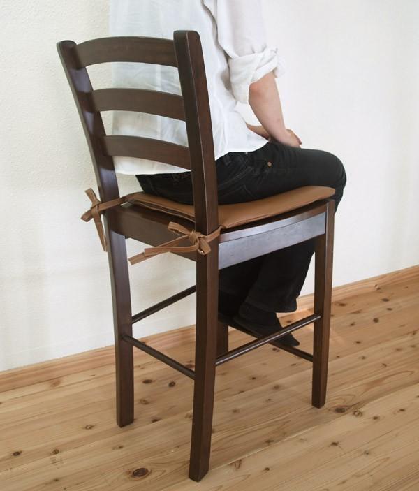 業務用座面60cm木製カウンターチェア/クッション付