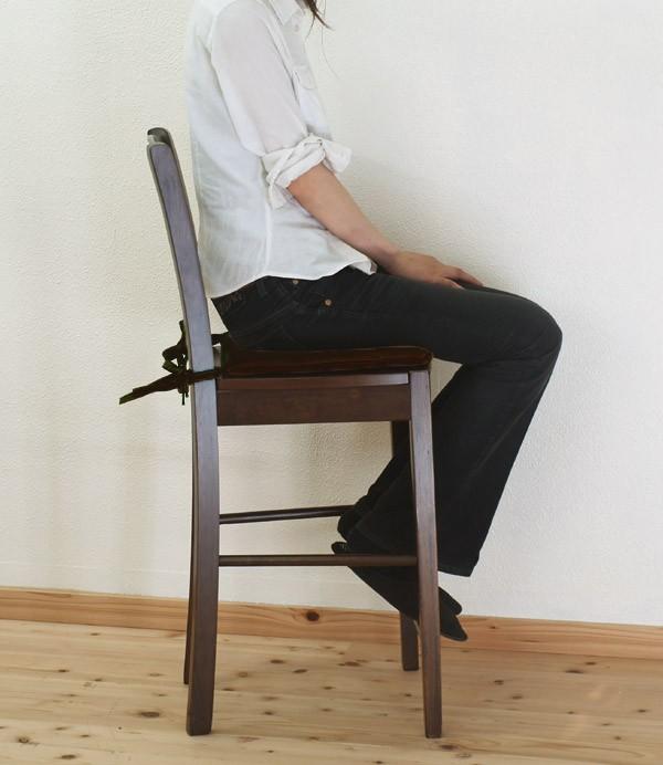 座面高60cmのシートクッション付木製カウンターチェア/業務用ブラウン色