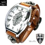 メンズ 腕時計 レザーブレスウォッチ 送料無料
