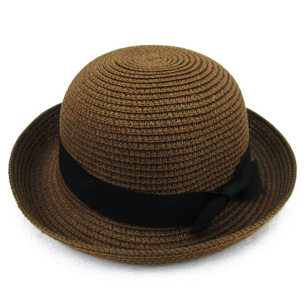 子ども用 麦わら帽子 ボーラー ストローハット リボン付 ボーラ―ハット キッズハット メンズ レディース UVカット 日除け ハット 春 夏 STRAW HAT 6547|bbdirect|07