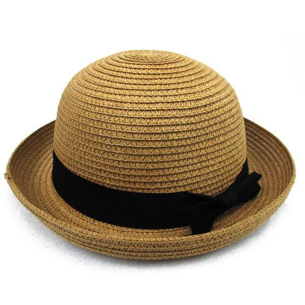 子ども用 麦わら帽子 ボーラー ストローハット リボン付 ボーラ―ハット キッズハット メンズ レディース UVカット 日除け ハット 春 夏 STRAW HAT 6547|bbdirect|09