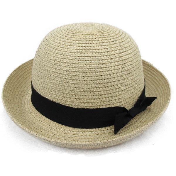 子ども用 麦わら帽子 ボーラー ストローハット リボン付 ボーラ―ハット キッズハット メンズ レディース UVカット 日除け ハット 春 夏 STRAW HAT 6547|bbdirect|10