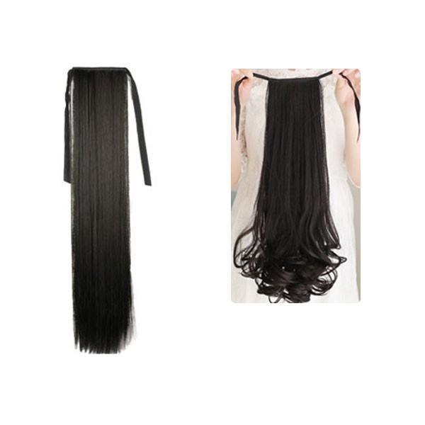 ポイントウィッグ カール ストレート リボン式 ポニーテール エクステ ミディアム セミロング 黒 黒髪 耐熱 付け毛 つけ毛 ウイッグ wig point 003|bbdirect|10