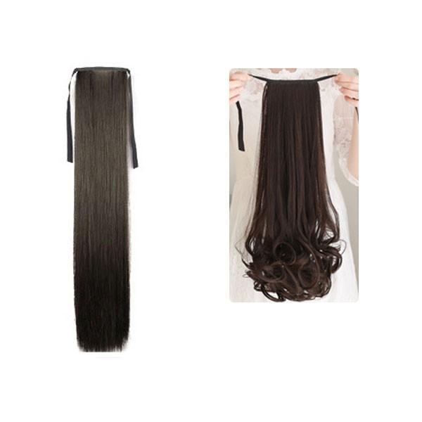 ポイントウィッグ カール ストレート リボン式 ポニーテール エクステ ミディアム セミロング 黒 黒髪 耐熱 付け毛 つけ毛 ウイッグ wig point 003|bbdirect|11
