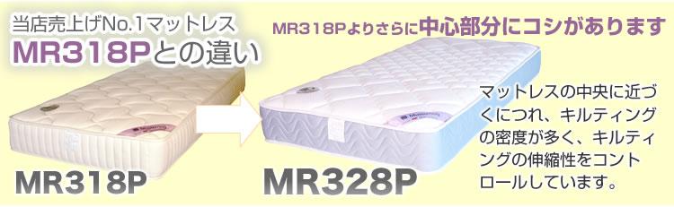 MR318Pとの違い,MR318Pよりさらに中心部分にコシがあります,マットレスの中央に近づくにつれ、キルティングの密度が多く、キルティングの伸縮性をコントロールしています