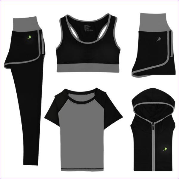 スポーツウェア 5点セット パーカー Tシャツ カップ付き スポーツブラ ショートレギンス付きショートパンツ ロングレギンス付きショートパンツ 送料無料 befun 19