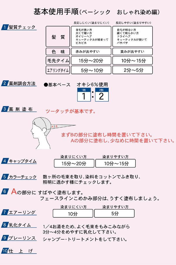 基本使用手順(ベーシックおしゃれ染め編)