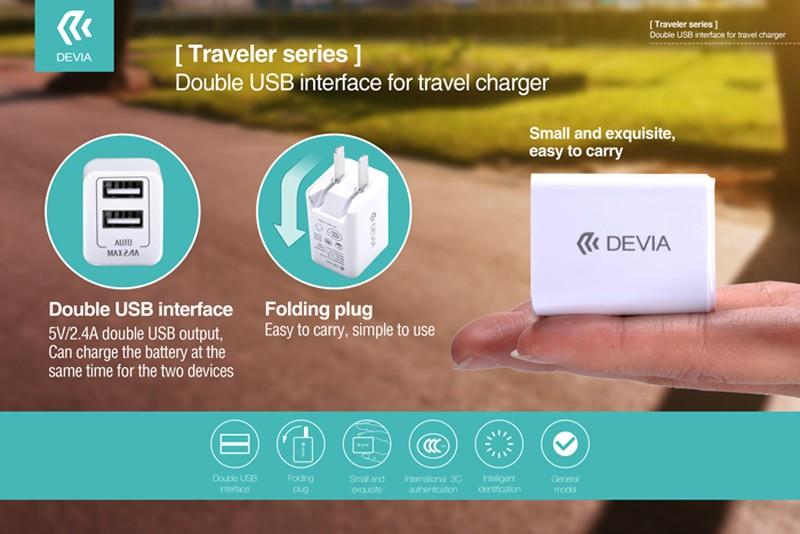 Devia Rockwall2 AC充電アダプター 2USBソケットの画像