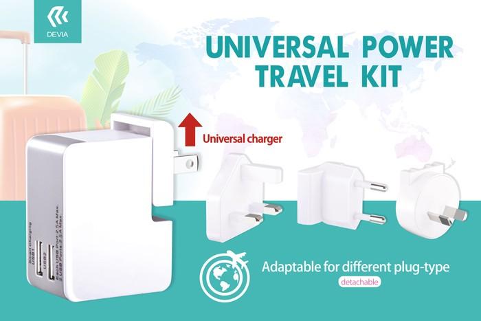 様々な国のコンセントに対応できる、コンパクトな2ポートUSBユニバーサル充電機 Devia Uinversal Power Travel KITの画像