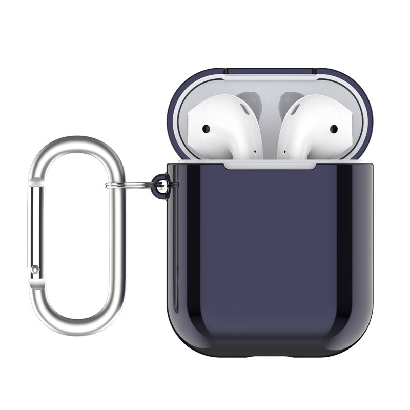 AirPods2 /1 エアポッズケース TPUカバー メタリック 保護 カラビナ付 /Naked2 Silicone Case