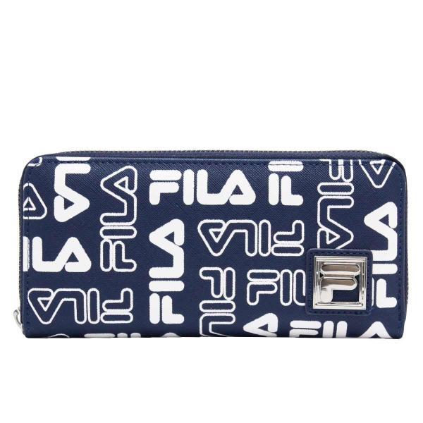 フィラ FILA 総柄ロゴ ラウンド財布 財布 長財布 ウォレット ブラック RIMS-0141