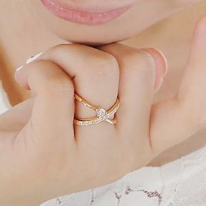 商品画像1 K18PG 0.3ct 10ダイヤモンド クロスリング