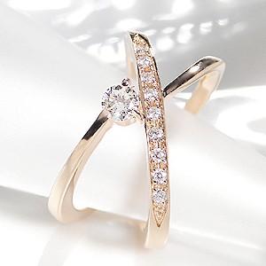 商品画像3 K18PG 0.3ct 10ダイヤモンド クロスリング