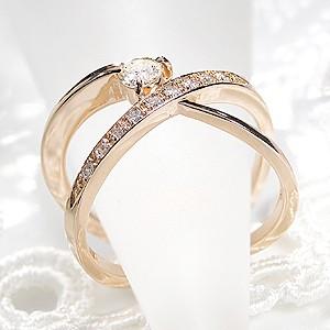 商品画像4 K18PG 0.3ct 10ダイヤモンド クロスリング