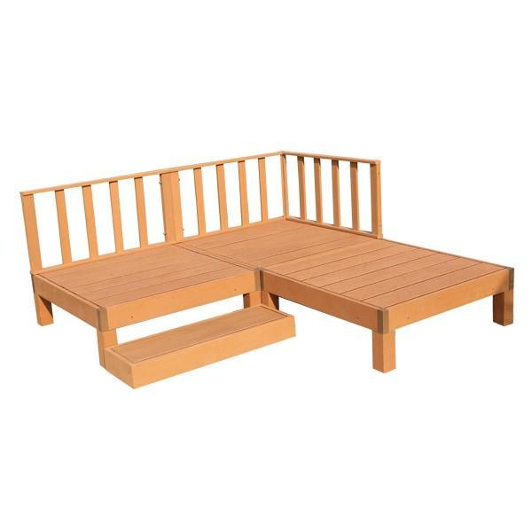 ウッドデッキ 人工木 7点セット 0.75坪 縁台 フェンス ステップ  バハユニー ガーデン DIY best-share 16