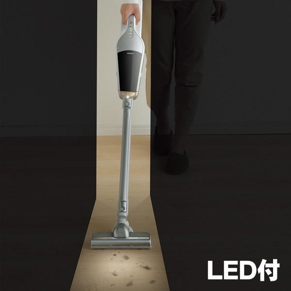 アイリスオーヤマ 充電式スティッククリーナー(リチウムイオン・LEDライト付) シルバー LEDライト使用イメージ