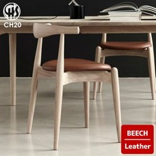 ELBOW CHAIR CH20 Beech Leather CARL HANSEN & SON