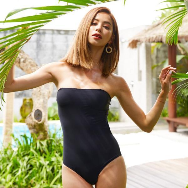 水着 レディース 体型カバー 黒 ビキニ モノキニ ワンピース 可愛い 20代 30代 40代 50代 2019 大人 トレンド セクシー ノンワイヤー インポート風 無地|bikini-kirara|24