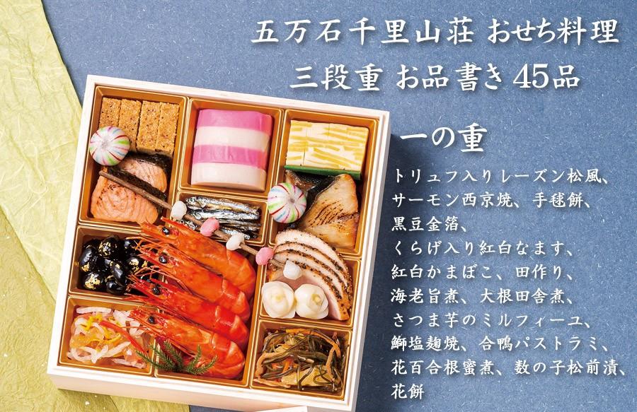 富山おせち料理2020予約・五万石千里山荘お品書き