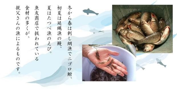 魚友商店で扱われている食材の多くが親父さんの漁によるものです