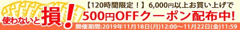 6,000円以上お買い物で500円OFFクーポンキャンペーン!