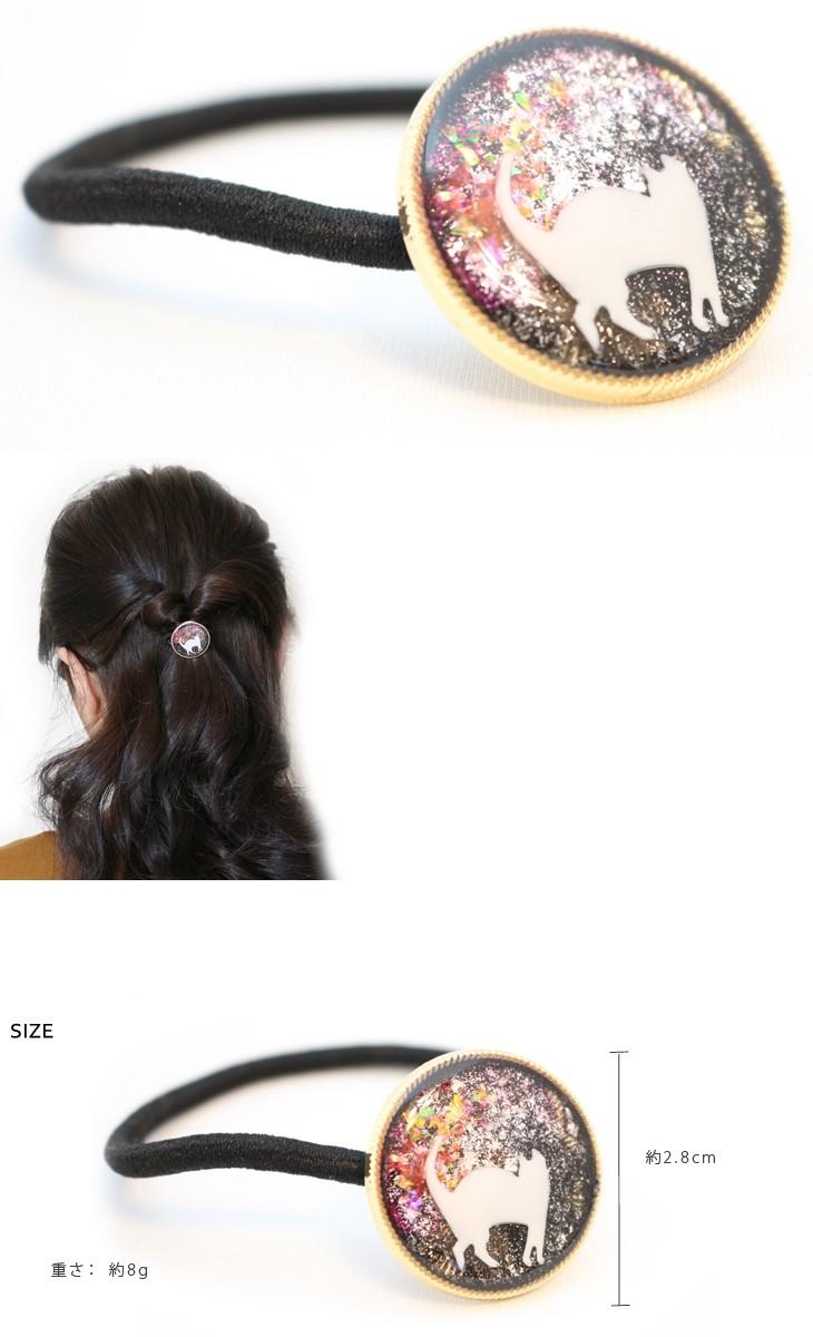 【ヘアゴムハンドメイド手作り】夕焼けと白猫ヘアゴム【ヘアゴム夕焼け猫ねこネコ白猫ブラック赤レッド夜空ラメ黒ゴールドレジン手描き可愛いヘアアクセサリー限定】