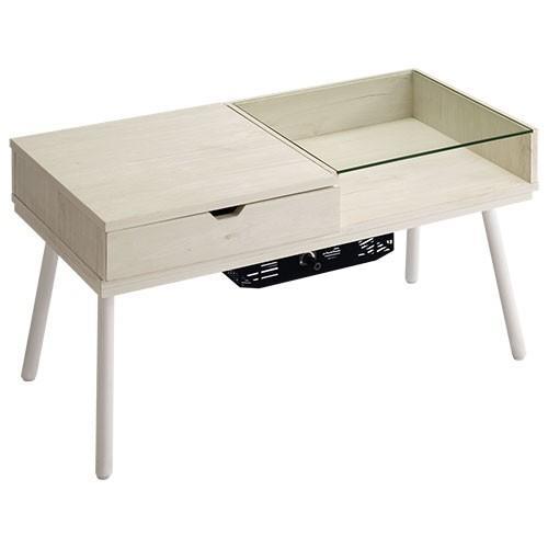化粧台 ドレッサー テーブル おしゃれ 鏡台 ミラー コンパクト ローテーブル 木製 北欧 ガラス 白 センターテーブル メイク台 コスメ台 一面鏡 かわいい 幅80cm|bon-like|21