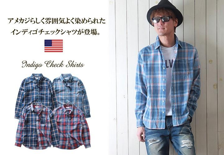 シャツ/インディゴ染め/長袖チェックシャツ
