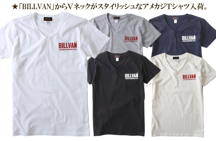 Tシャツ/BILLVAN/ロゴ/VネックTシャツ/ビルバン