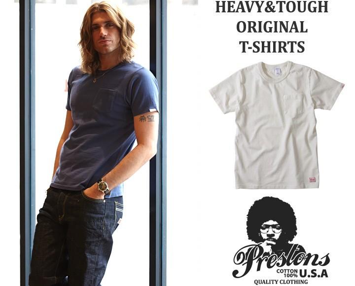 PRESTONSヘビー&タフ ピグメントウォッシュCottonUSAポケットTシャツ 7カラーユニセックス プレストンズ