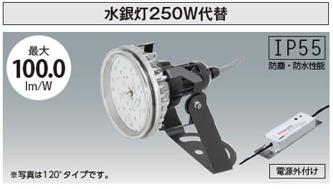 水銀灯250W相当 IP55防水・防塵性能 ファンレス 配光角度120°