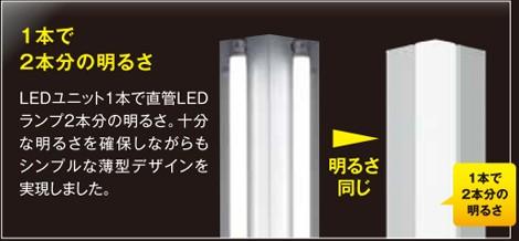 LEDベースライト1本で従来蛍光灯の2本分の明るさ