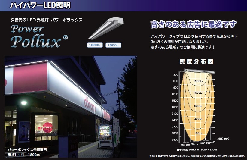 高さのある広告に最適な外照灯