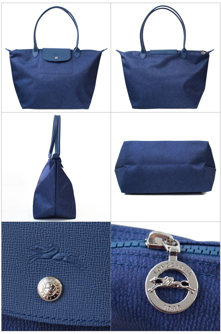 """73b5016b742a デニムプリントが印象的なロンシャンのトートバッグ""""ル・プリアージュ・ネオ ジーンズ(Le Pliage Neo Jean's)""""です。  軽くて丈夫なポリアミドキャンバスにスクエアの ..."""
