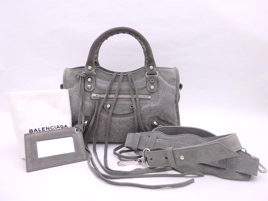 buy popular 400b9 f1c27 バレンシアガ BALENCIAGA 2Wayバッグ ショルダーバッグ ハンドバッグ ザ シティ ミニシティ ムートンxスエード グレー おすすめ  送料無料