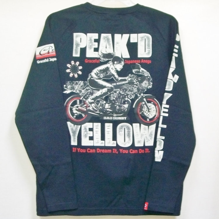 ピークドイエロー Peak'd Yellow 長袖T ロンT PYLT-223 BIKE 和柄 アメカジ ロック お姉ちゃん 女の子 カフェレーサー|bscrawler|13