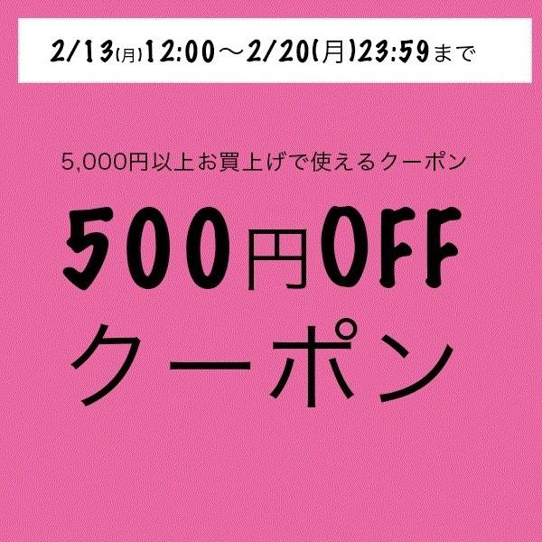 5000円以上購入で使える500円クーポン券 2/20まで