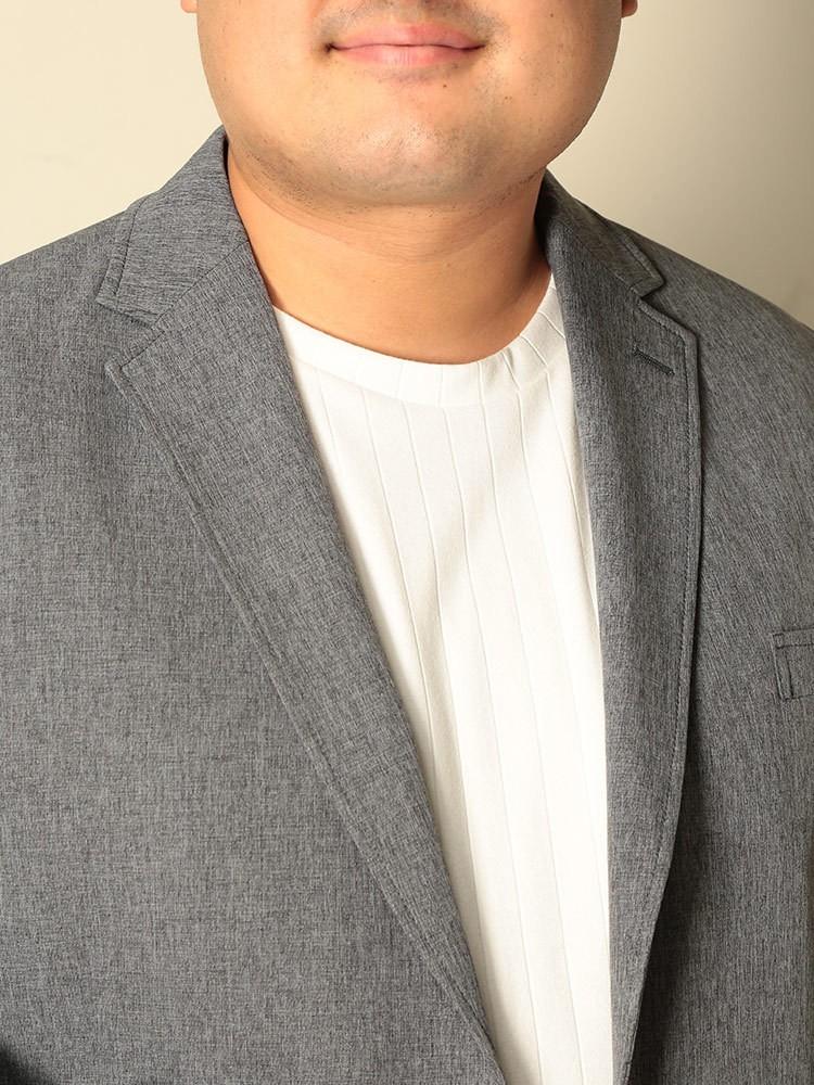 大きいサイズメンズ洋服のサカゼン ジャケット テーラード ストレッチ 伸縮 ビジカジ シンプル きれいめ B&T CLUB(ビーアンドティークラブ)