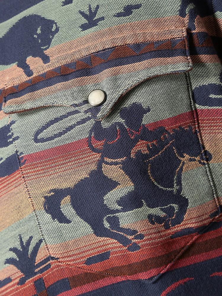 POLO RALPH LAUREN(ポロラルフローレン)アニマル総柄×ボーダー ジャガード 長袖シャツ