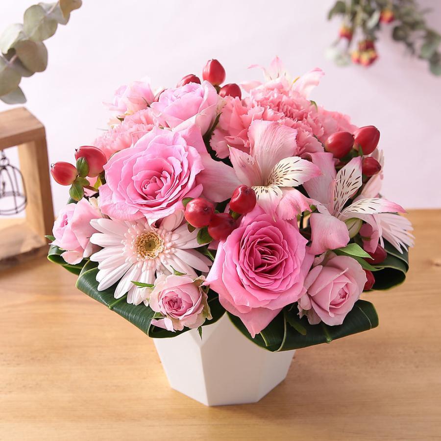 【誕生日プレゼント ギフト 女性 花 バラ ユリ】おまかせアレンジメント Sサイズ bunbunbee 30