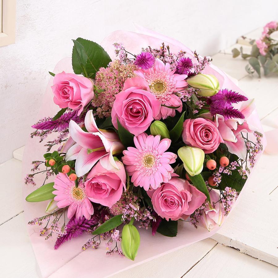 【誕生日プレゼント ギフト 女性 花 バラ ユリ】おまかせアレンジメント Mサイズ|bunbunbee|36