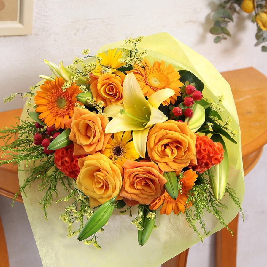 【誕生日プレゼント ギフト 女性 花 バラ ユリ】おまかせアレンジメント Mサイズ|bunbunbee|37