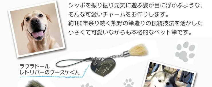 ペットの毛で作れるペット筆チャーム・ネームタグ付き【熊野製・送料無料・名入れ無料】  シッポを振り振り元気に遊ぶ姿が目に浮かぶような、 そんな可愛いチャームをお作りします。 約180年余り続く熊野の筆造りの伝統技法を活かした 小さくて可愛いながらも本格的なペット筆です。