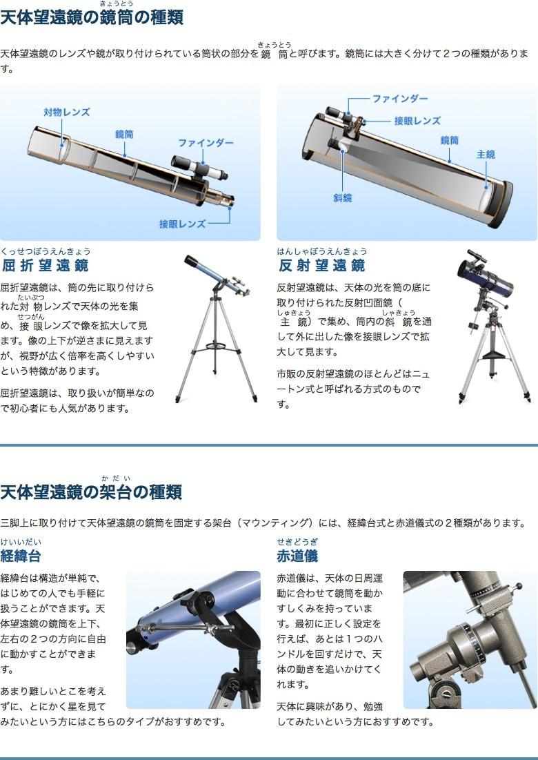 屈折望遠鏡と反射望遠鏡・経緯台と赤道儀