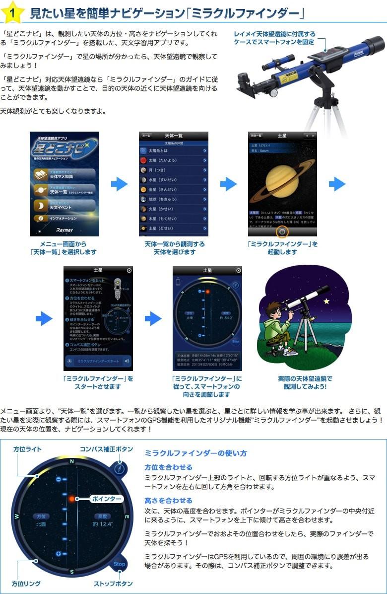 観測したい天体の方位・高さをナビゲーションしてくれる「ミラクルファインダー」を搭載した、天文学習用アプリ