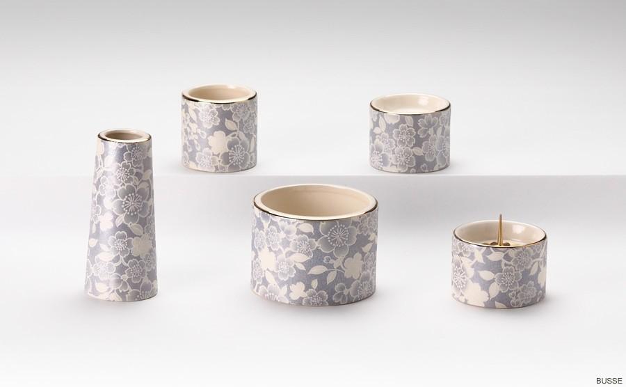 ミニ仏壇・モダン仏壇・手元供養におすすめの桜柄の陶器製モダン仏具セット