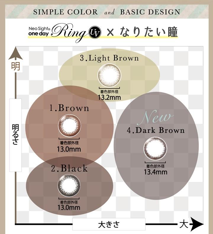 ブラウン13.0mm、ブラック13.0mm、ライトブラウン13.2mm、ダークブラウン13.4mm