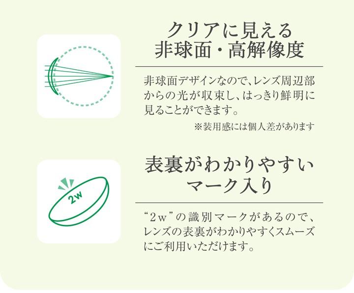 非球面・高解像度 裏表がわかりやすいマーク入