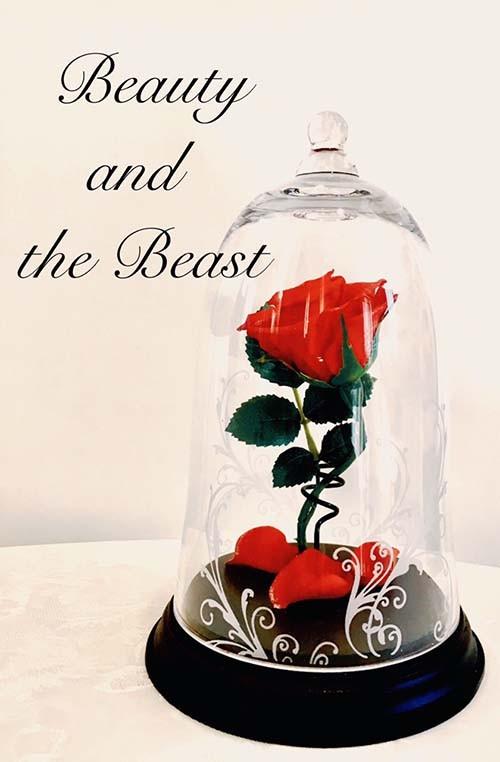 美女と野獣 一輪の赤い薔薇 ガラスドーム